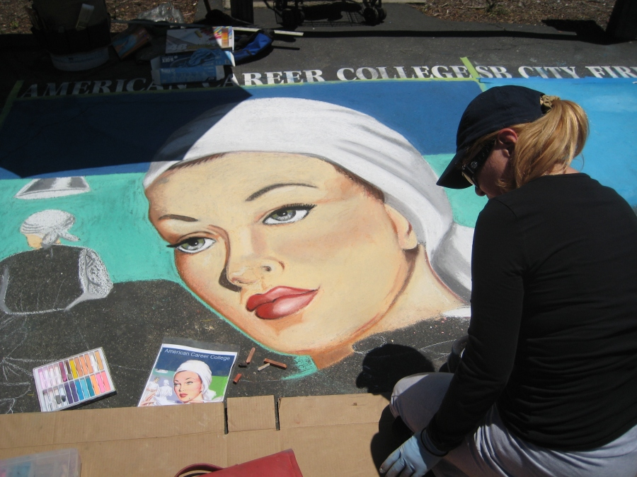 Street Painter at Work in Santa Barbara