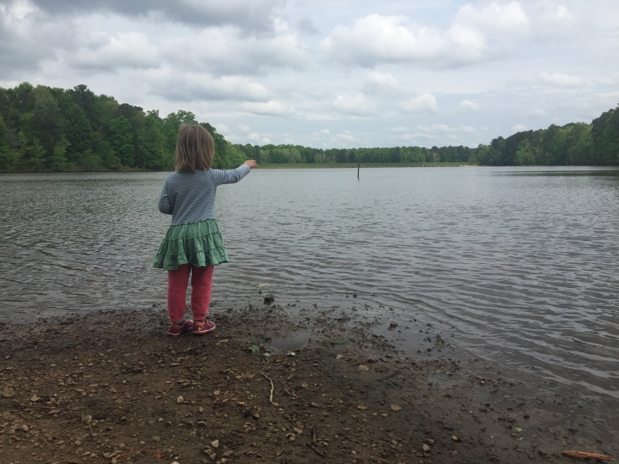 Throwing pebbles in Bond Lake