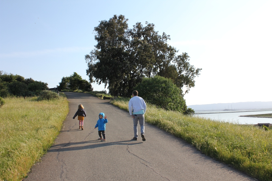 Family walking towards Hilltop Overlook